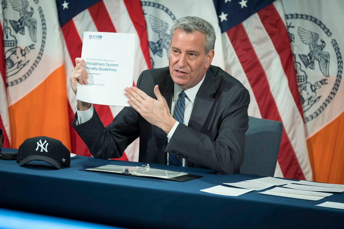 Mayor Bill de Blasio speaks at City Hall about new NYPD disciplinary guidelines, Jan. 19, 2021.
