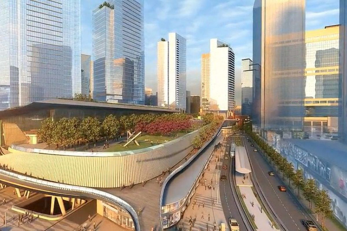 Plans for a huge train and bus station that will never be built in downtown Atlanta.
