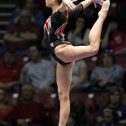 Utah's Mary Beth Lofgren competes on the balance beam during the NCAA college women's gymnastics championships on Friday, April 18, 2014, in Birmingham, Ala. (AP Photo/Butch Dill)