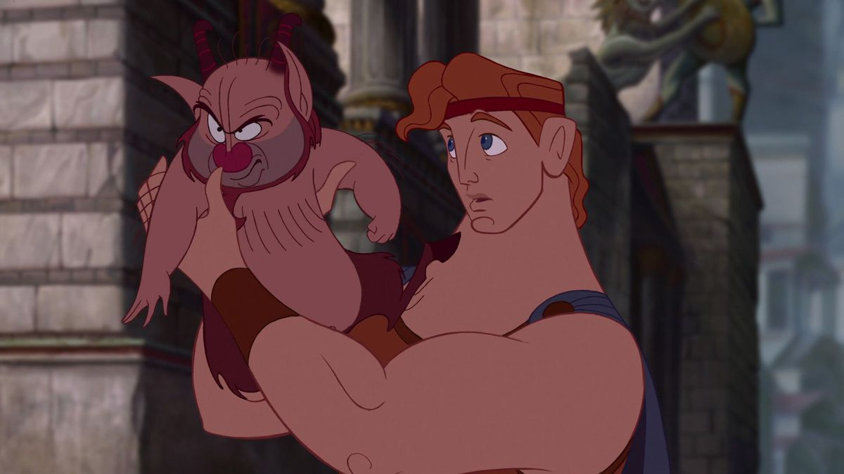 Celebrity Fitness: Hercules holds Phil the satyr