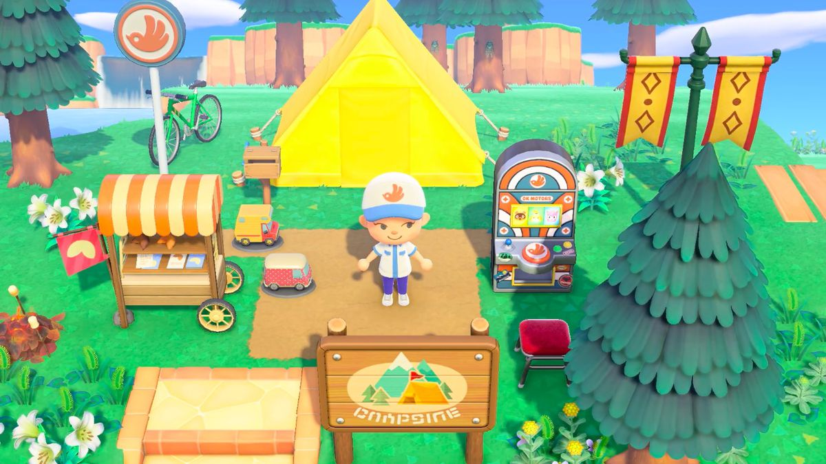 A villager stands in a campsite surrounded by OK Motors-themed items in a screenshot from Animal Crossing: New Horizons