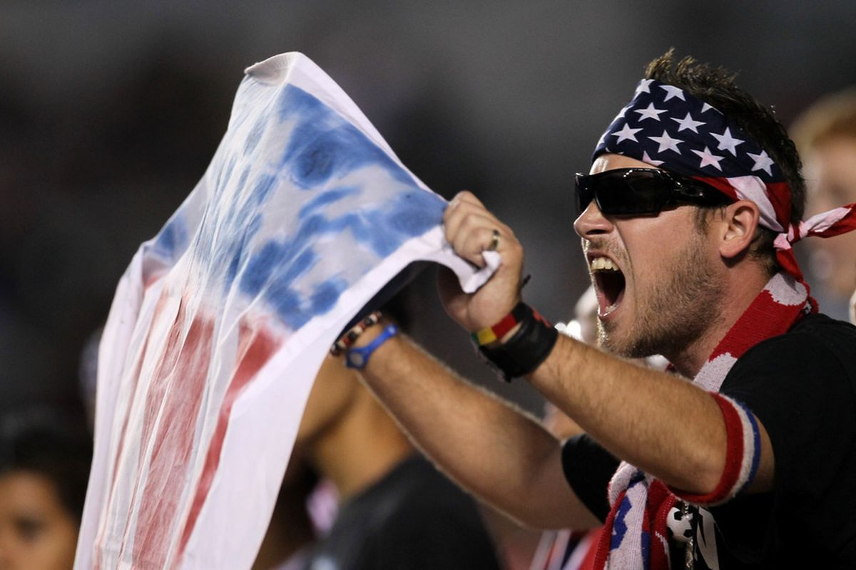 CARSON, CA - JULY 23:   A Chivas USA fan cheers during the game with the Houston Dynamo at The Home Depot Center on July 23, 2011 in Carson, California.  Chivas USA won 3-0.  (Photo by Stephen Dunn/Getty Images)