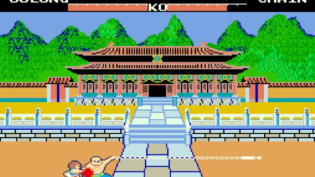 screenshot of the 1985 arcade fighting game Yie Ar Kung Fu by Konami