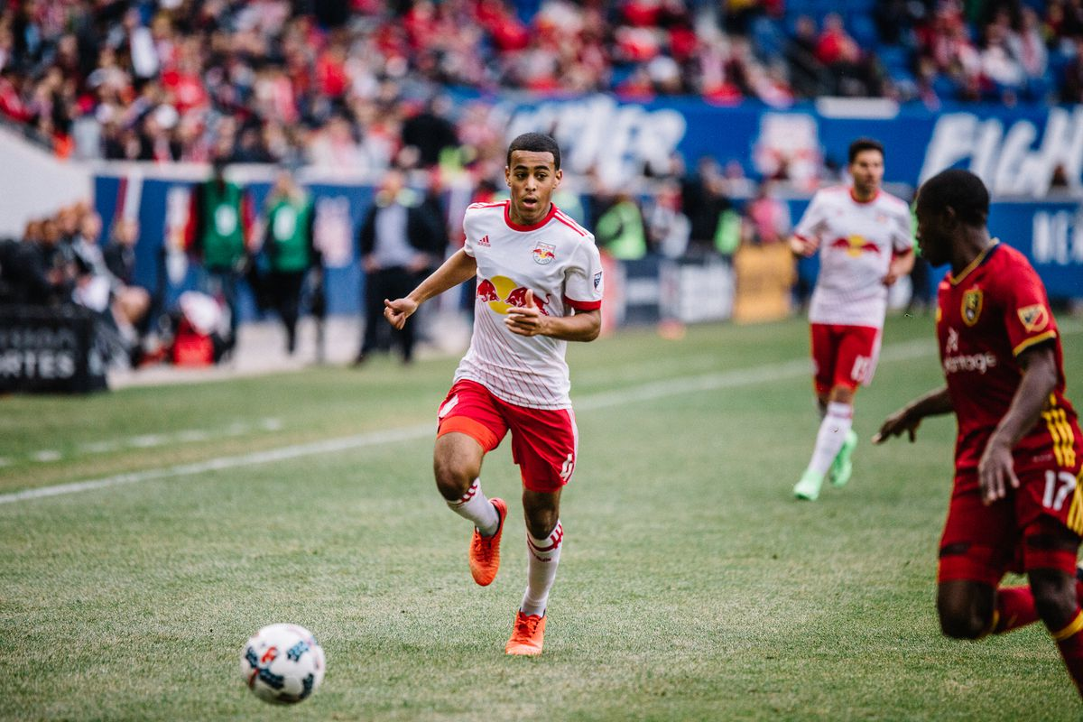 New York Red Bulls' Tyler Adams playing against Real Salt Lake at Red Bull Arena; March 25, 2017
