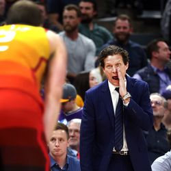 Utah Jazz head coach Quin Snyder talks to Utah Jazz guard Joe Ingles (2) on an inbounds play as the Utah Jazz and the Miami Heat play in an NBA basketball game at Vivint Smart Home Arena in Salt Lake City on Wednesday, Feb. 12, 2020. Utah won 116-101.