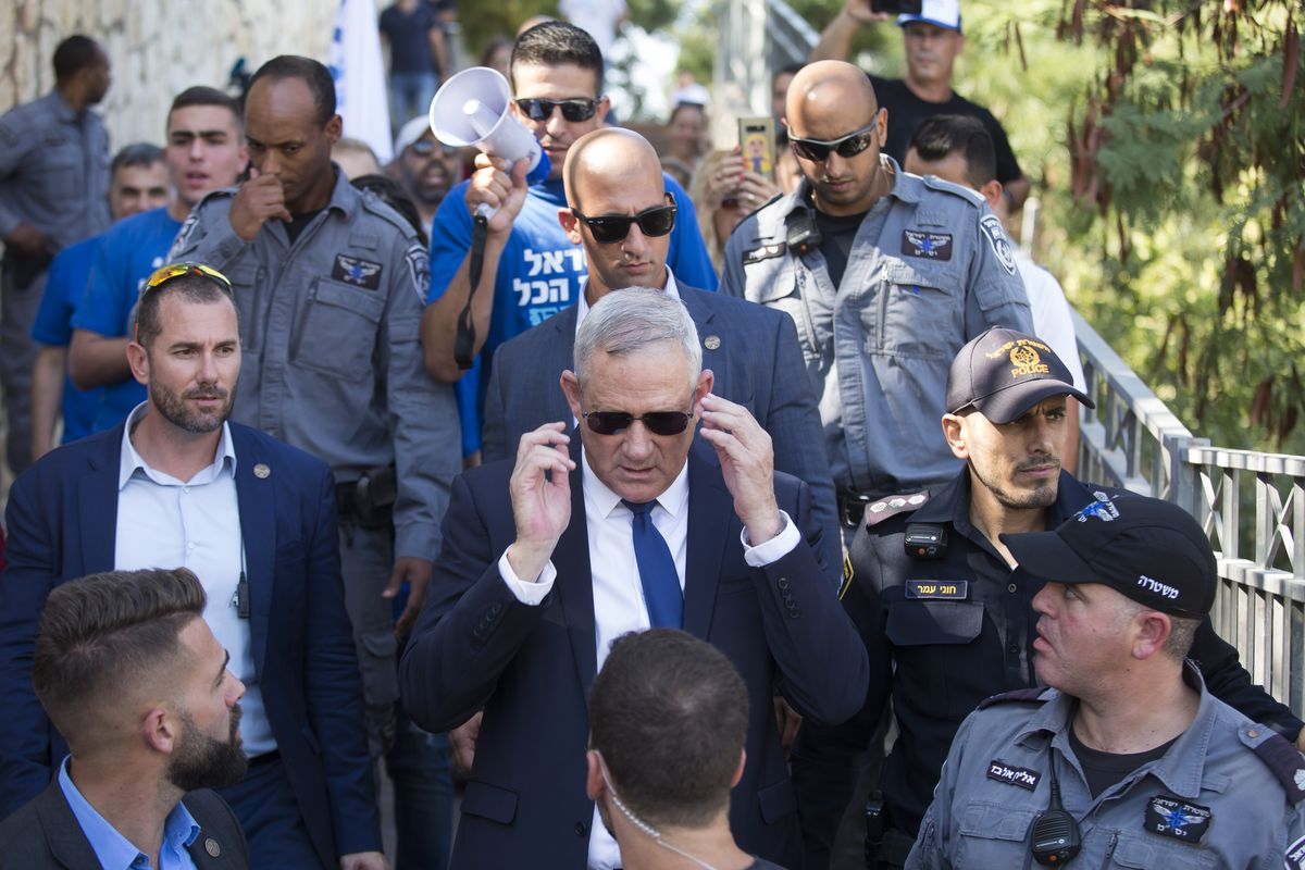 The blue and white leader Benny Gantz after his election.
