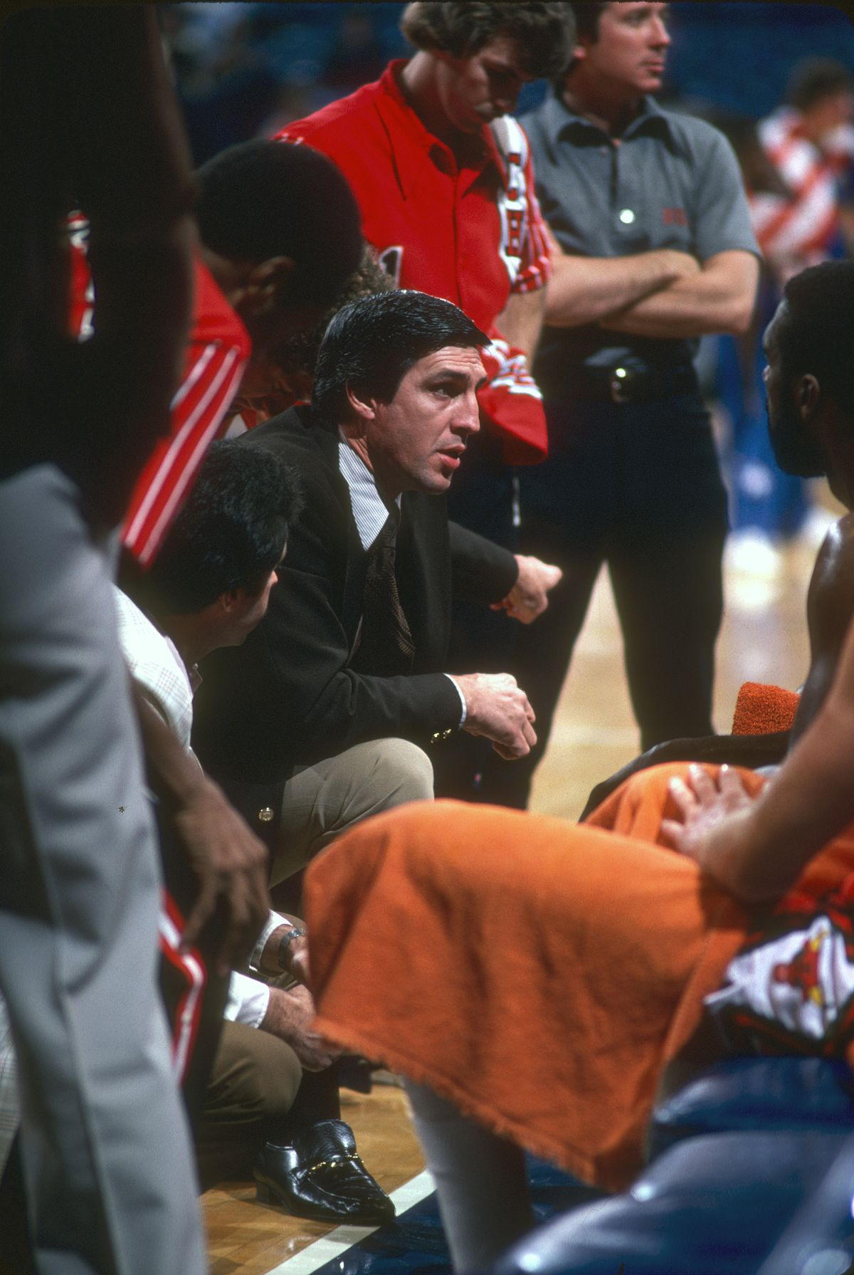 fe6bdad15414 Head coach Jerry Sloan of the Chicago Bulls talks with his team during a  timeout of an NBA basketball game circa 1979 Getty Images