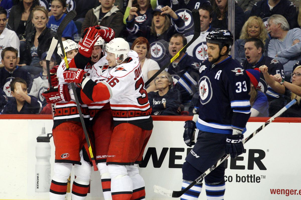 The Hurricanes posted a huge 3-1 win over the Jets on Saturday.