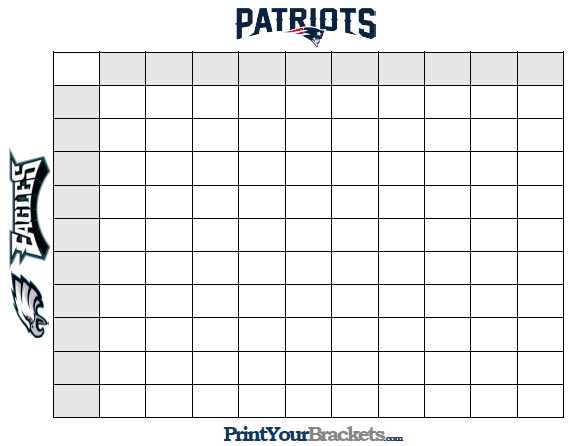 Super Bowl Squares Template A Playing Guide For Patriots Vs