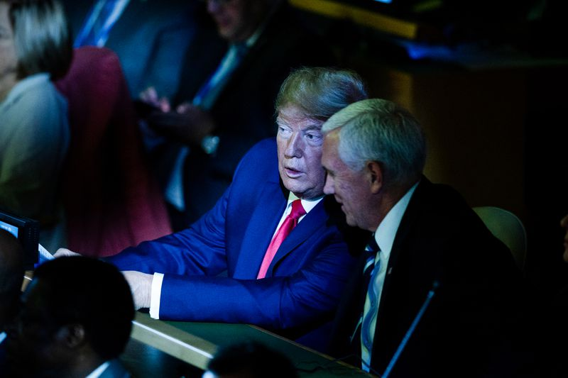 President Trump and Vice President Mike Pence at the United Nations Climate Action Summit.