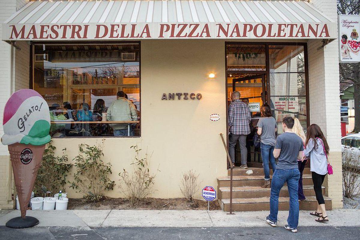 Exterior of Antico Pizza.