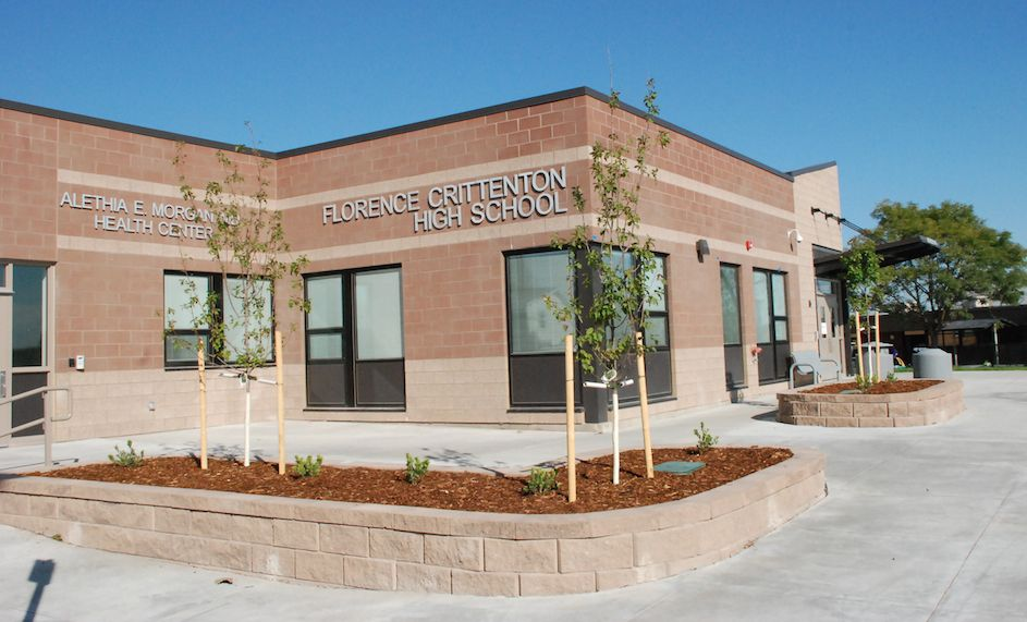 This new building on the campus of Florence Crittenton High School in Denver's Valverde neighborhood replaced two cinderblock warehouses and a gravel parking lot.