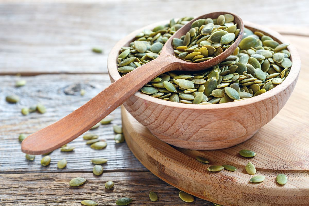 Often called pepitas when they're hulled to reveal their green interiors, crunchy pumpkin seeds are a great way to boost your intake of magnesium, an often underconsumed nutrient that has been linked to improved blood pressure numbers
