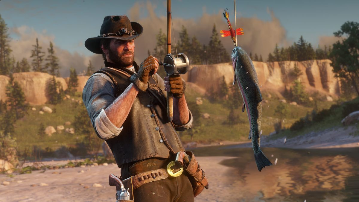 Arthur Morgan catching fish in Red Dead Redemption 2
