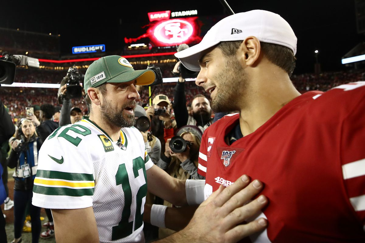 Aaron Rodgers of the Green Bay Packers shakes hands with Jimmy Garoppolo of the San Francisco 49ers after their game at Levi's Stadium on November 24, 2019 in Santa Clara, California.