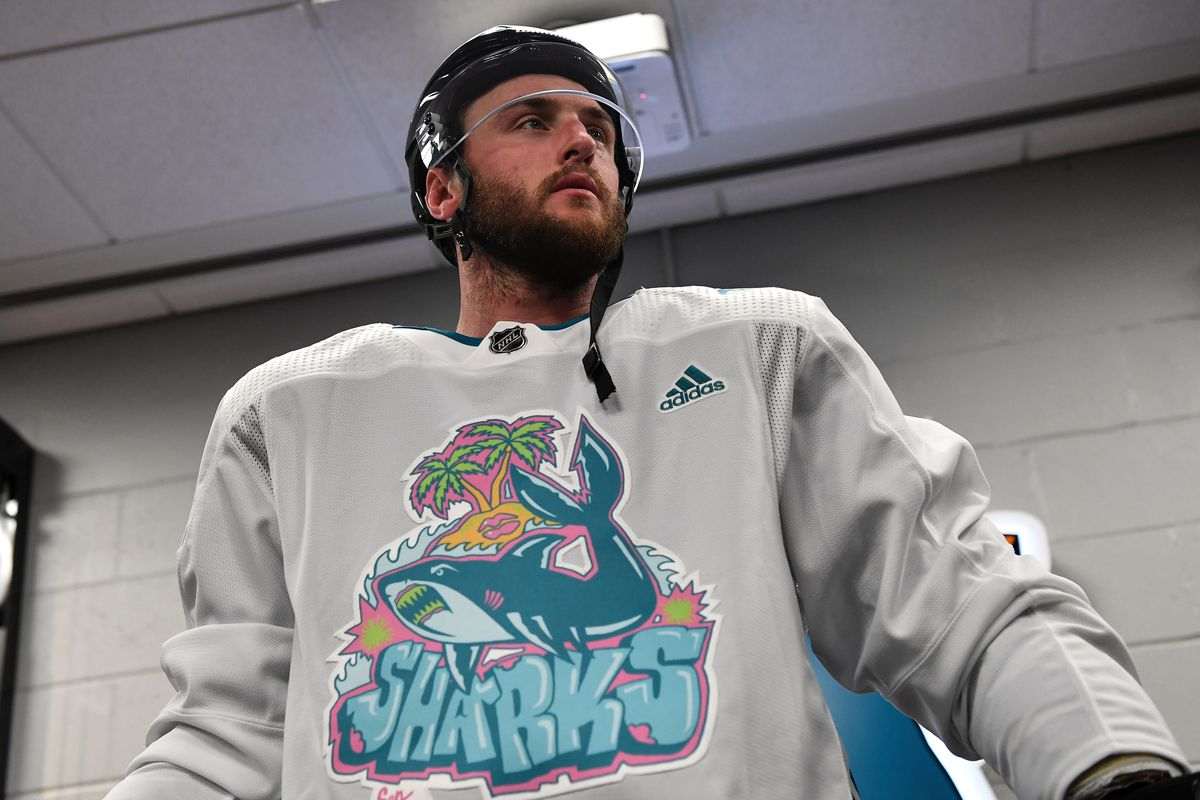 Stefan Noesen #11 of the San Jose Sharks prepares to take the ice for warmups in Girl Mobb's Graffiti Shark design jerseys against the Tampa Bay Lightning at SAP Center on February 1, 2020 in San Jose, California.
