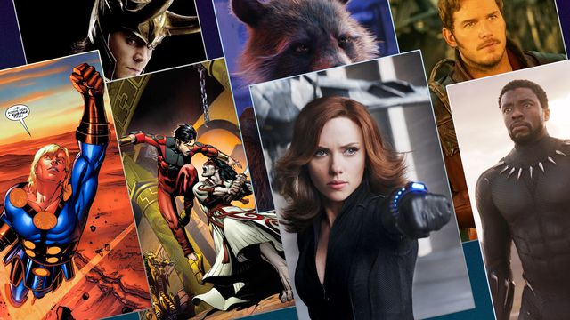 marvel movies phase 4 mosaic including Loki, Rocket Racoon, Black Widow, and Black Panther