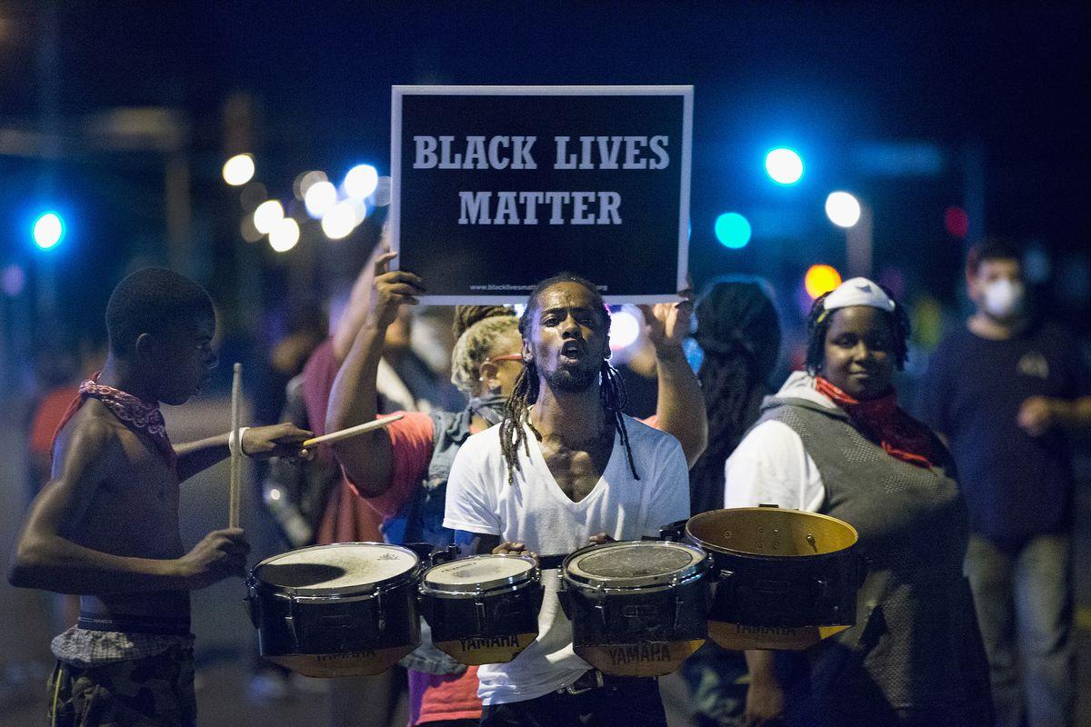 Black Lives Matter demonstrators in Ferguson, Missouri.