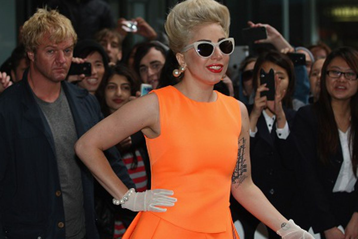 Image of Gaga covering her nails for once via Getty
