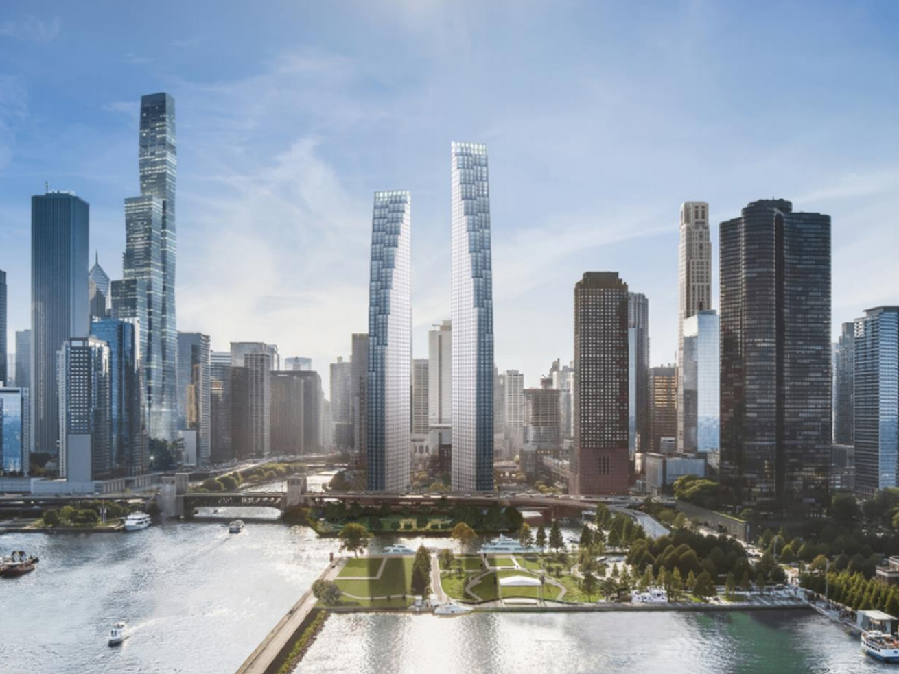 A rendering of the residential towers that would arise from 400 N. Lake Shore Drive.