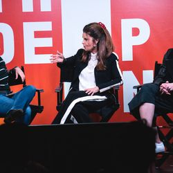 """Kara Swisher records Recode Decode with Maria Shriver and her Christina Schwarzenegger ahead of the release of their Netflix documentary """"Take Your Pills."""""""
