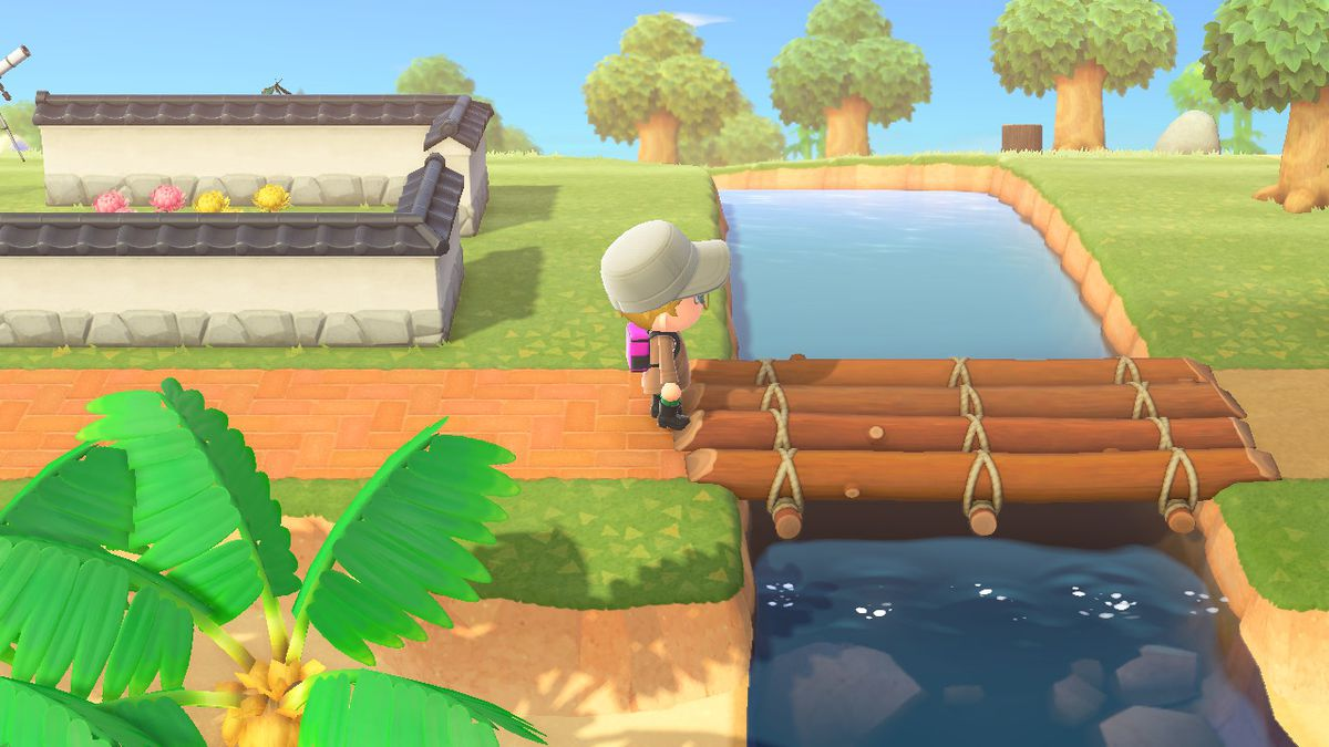 Standing at a bridge in Animal Crossing New Horizons