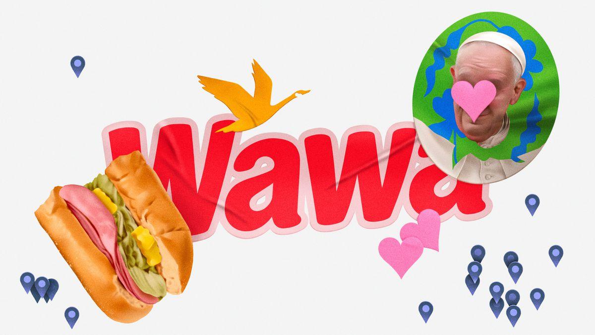 Illustration of half a Wawa hoagie, the Wawa logo, and a portrait of Pope John Paul II.