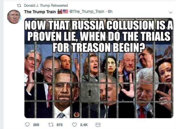 Trump Retweets Meme Calling For Imprisonment Of His Own