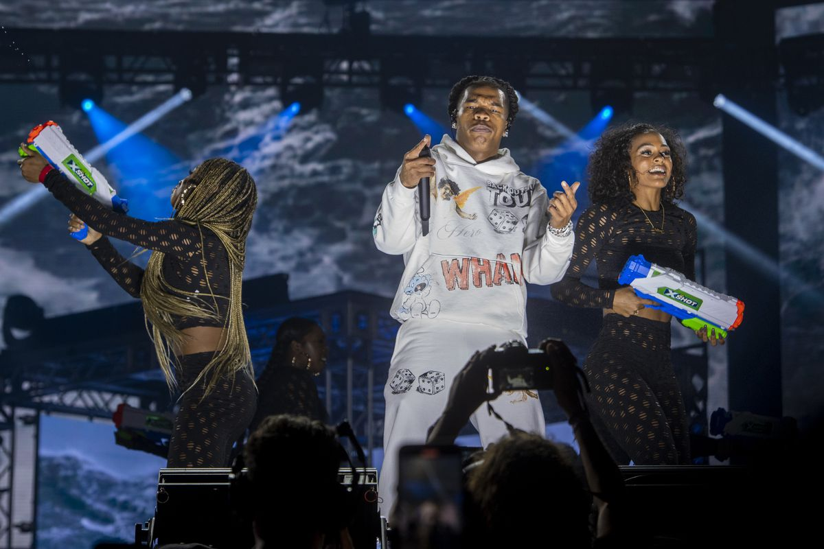 Lil Baby performs on day two of the Summer Smash Festival.