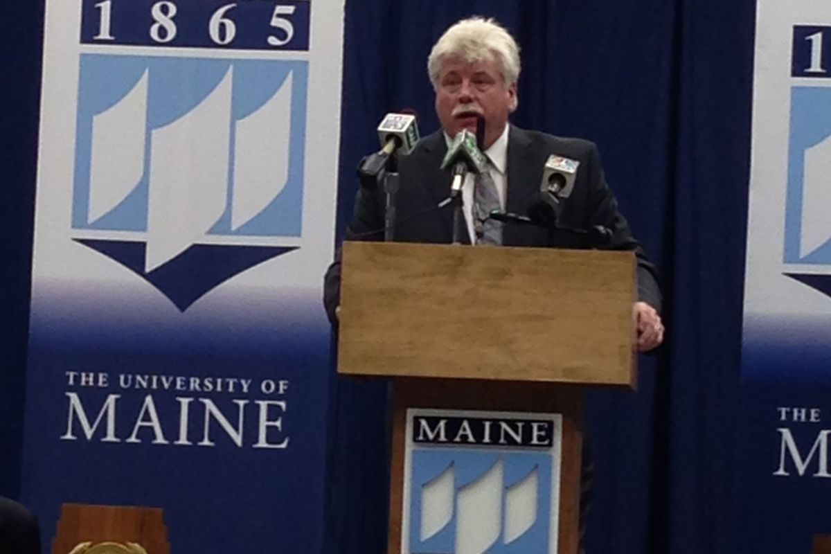 New Maine hockey coach Red Gendron speaks at his introductory press conference.