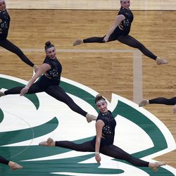 Hillcrest High School's drill team competes in the dance category of the 5A state finals at the UCCU Center in Orem on Thursday, Feb. 4, 2021.