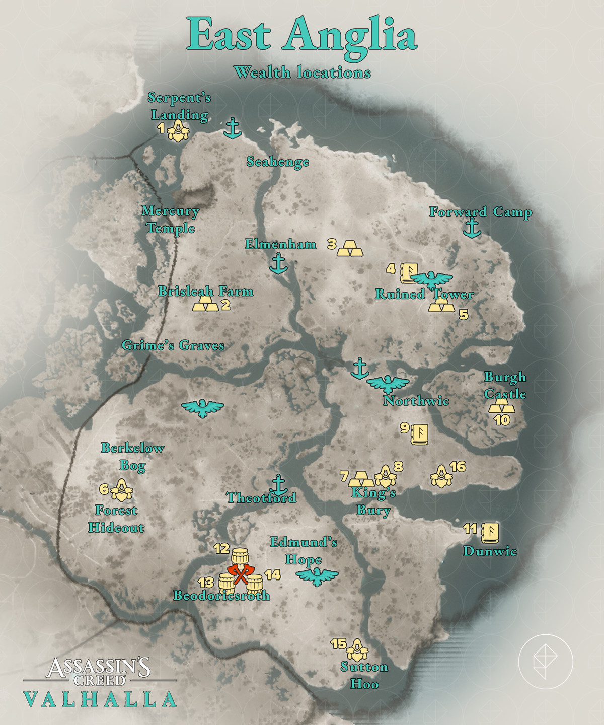 East Anglia Wealth locations map