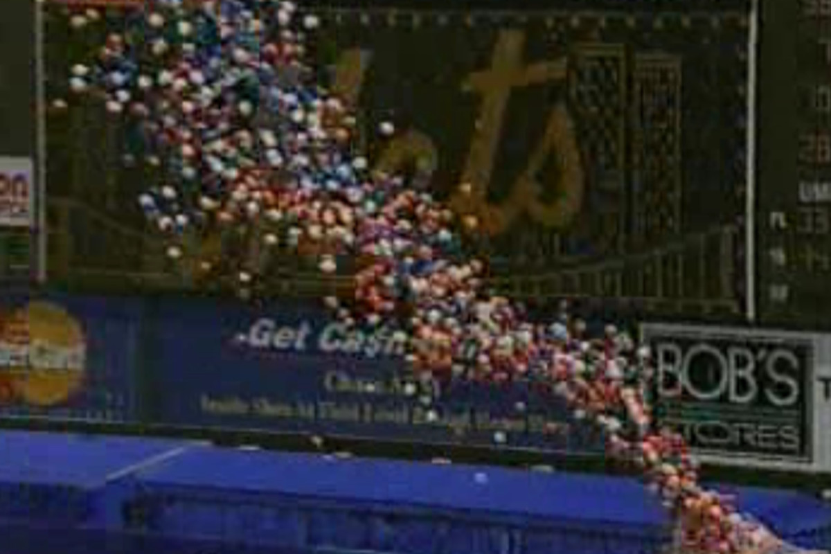 Opening Day at Shea Stadium, 1999. Tickets were $3 a pop and hotted dogs cost a nickel, dagnabbit.