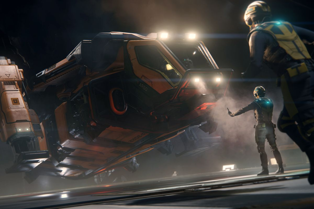 An orange ship comes in for a landing in an atmospheric hanger in Star Citizen concept art.