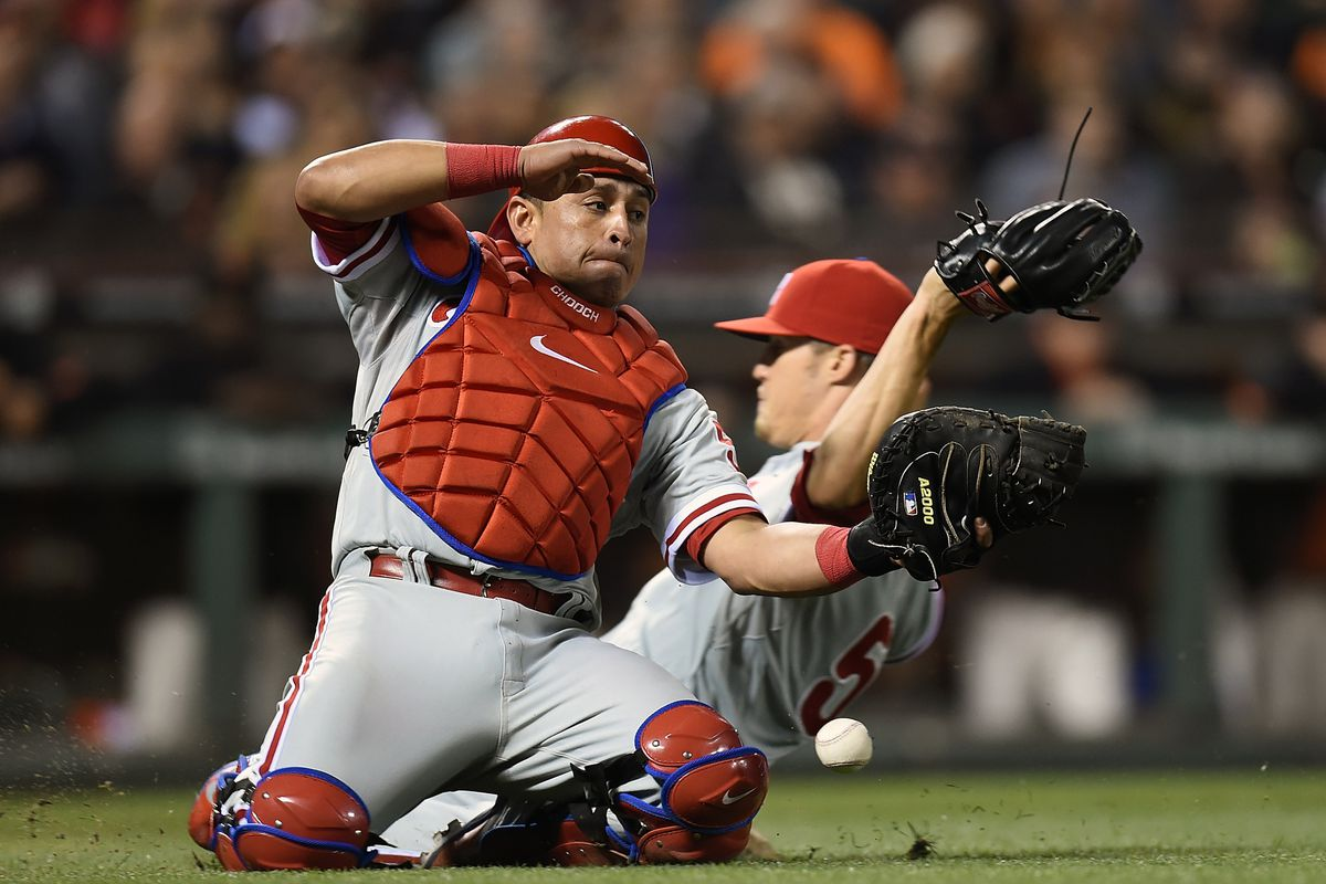 Chooch salutes from his knees while Giles bails out behind him, and a baseball inexplicably hovers.