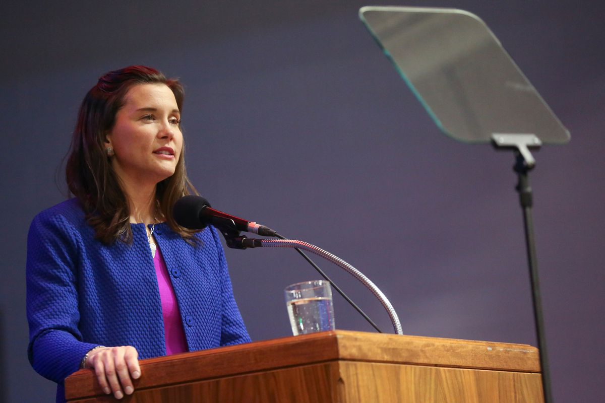 Salt Lake City Mayor Erin Mendenhall delivers her State of the City address at Meadowlark Elementary School in Salt Lake City on Monday, March 2, 2020.