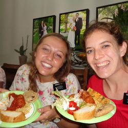 Sister Mary Ruff and Sister Ashley Paget enjoy a dinner of spaghetti and meatballs at the Georgia Atlanta North Mission after they and 34 other Mormon missionaries evacuated Puerto Rico on Saturday and arrived in Atlanta late Saturday night, Sept. 23, 2017.