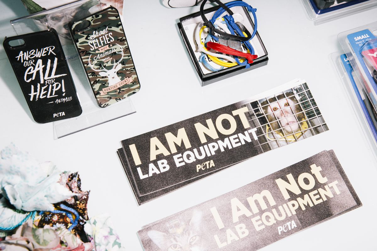 """PETA phone cases and bumper stickers that read """"I Am Not Lab Equipment."""""""