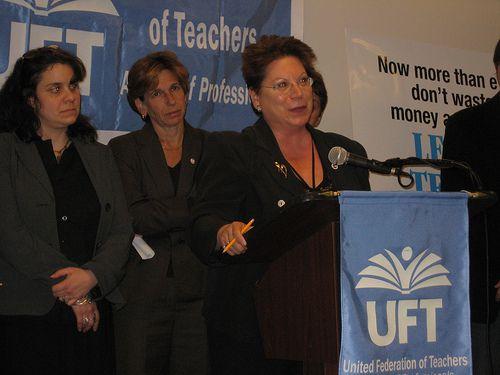Two teachers flank UFT President Randi Weingarten at yesterday's press conference