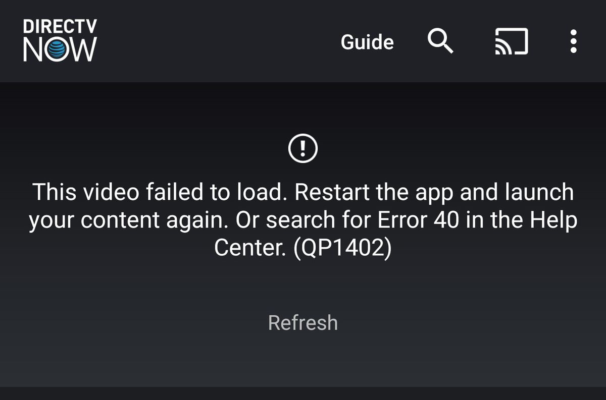 An error in DirecTV Now's mobile app