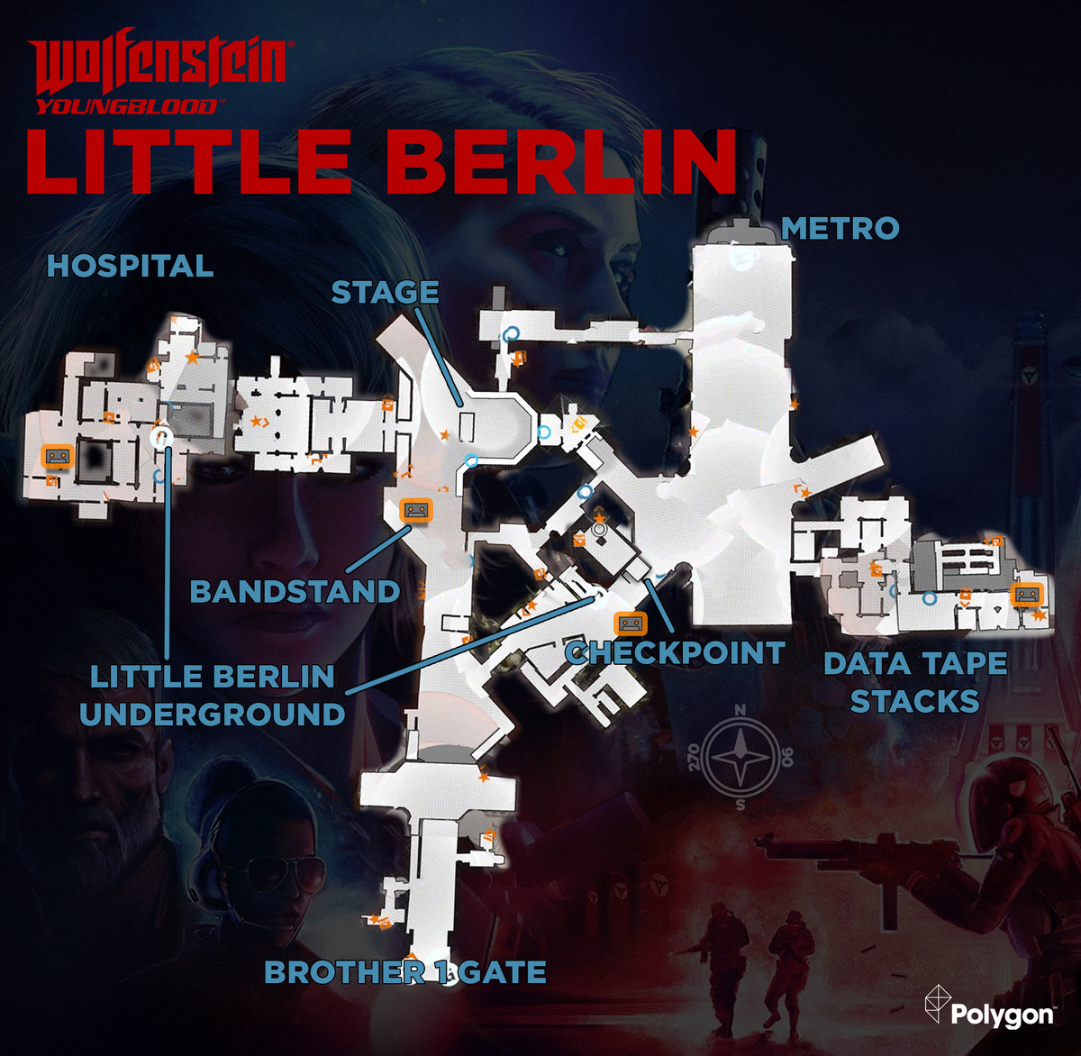 Wolfenstein: Youngblood Little Berlin map with Cassette Tape locations