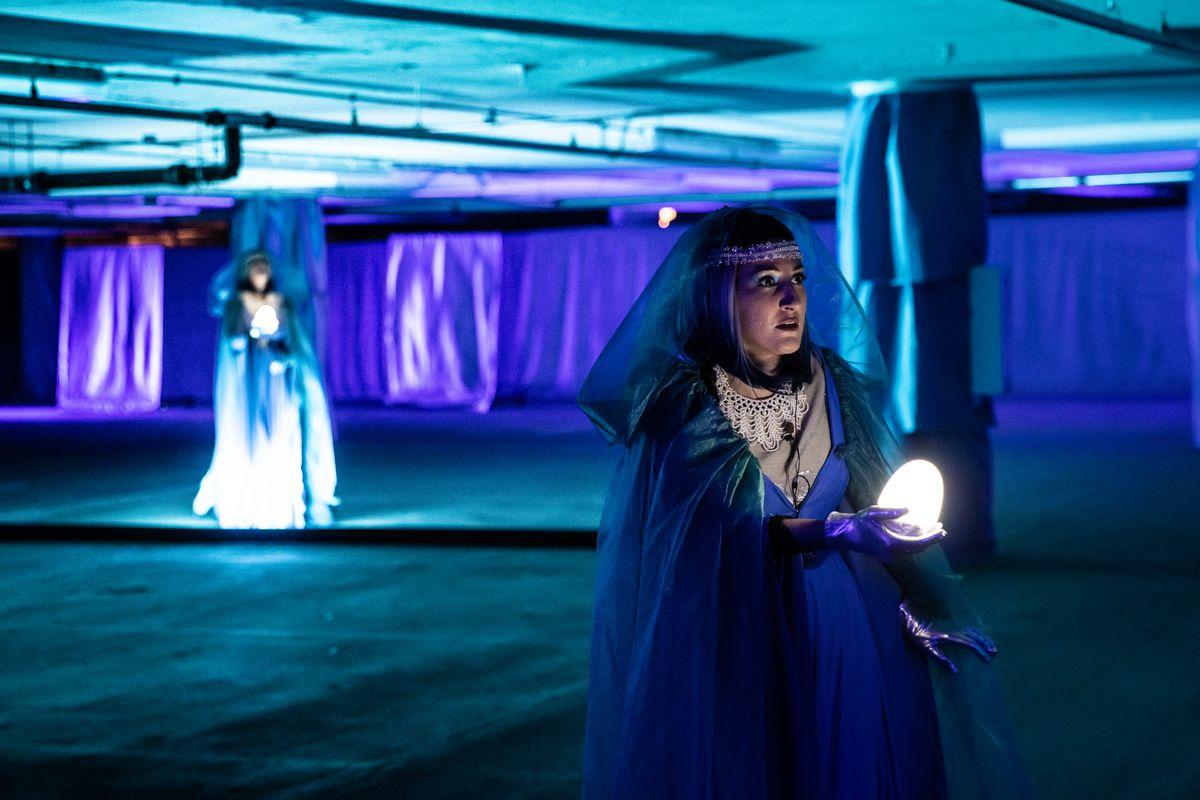 "Ryan Opera Center ensemble member Maria Novella Malfatti stars as a Rhinemaiden in Lyric Opera's production of ""Twilight: Gods,"" presented in the Millennium Lakeside underground parking garage. Kyle Flubacker"