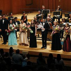 Performers are applauded at the end of the 55th annual Salute to Youth concert in Salt Lake City Tuesday, Sept. 30, 2014.