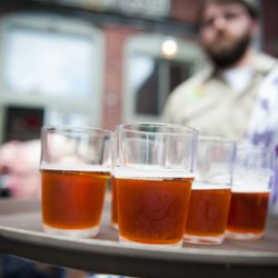 The Local Pour Tour starts with a beer and sausage tasting at The Thirsty Pig in Portland's Old Port