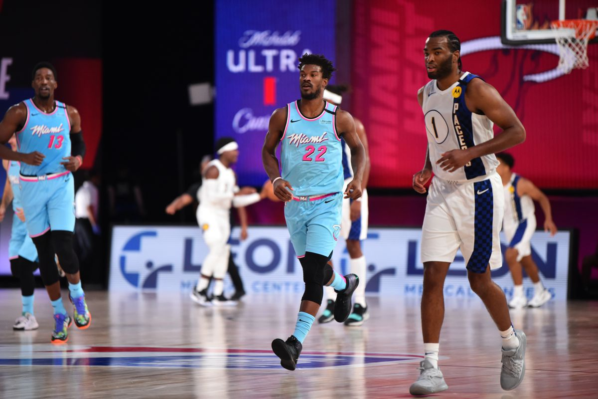 Jimmy Butler of the Miami Heat during a game against TJ Warren of the Indiana Pacers on August 10, 2020 at the Visa Athletic Center at ESPN Wide World Of Sports Complex in Orlando, Florida.