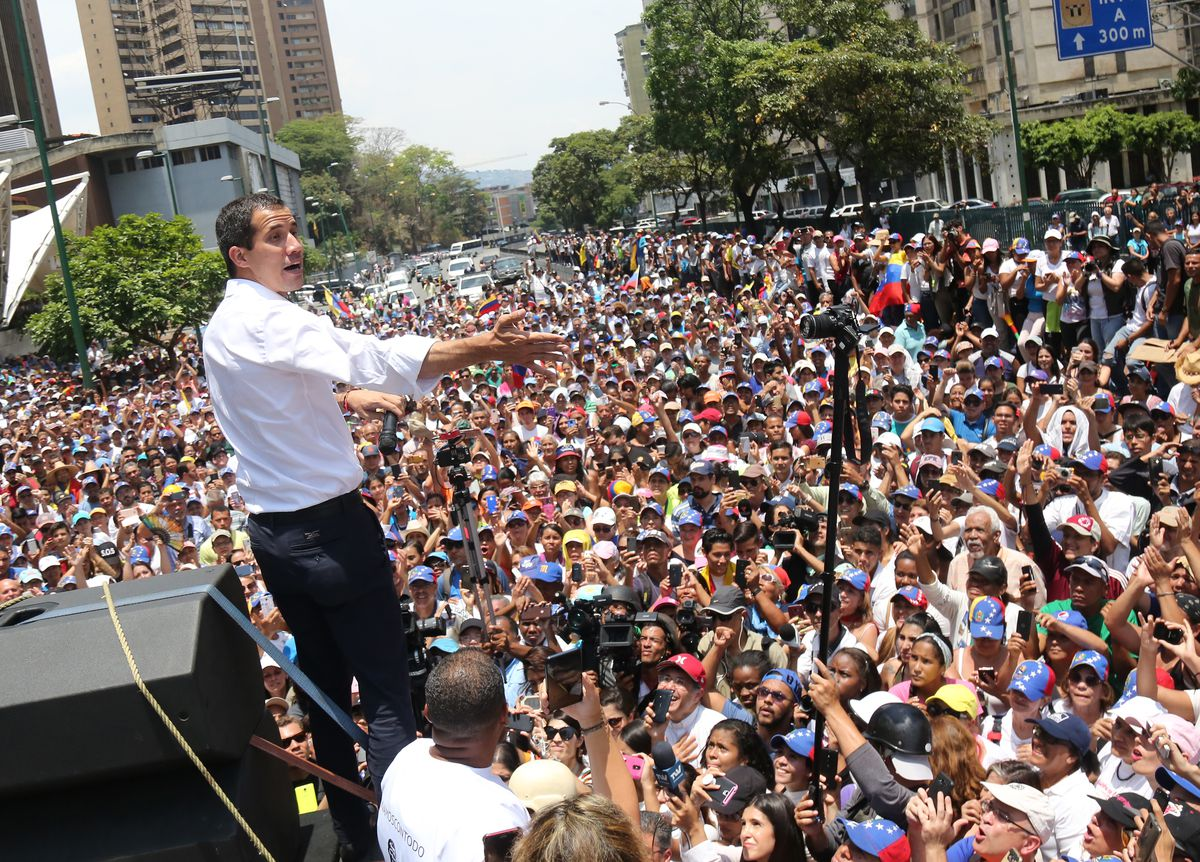 Venezuela's US-recognized interim president Juan Guaidó speaks during a demonstration in Caracas, Venezuela on May 1, 2019.