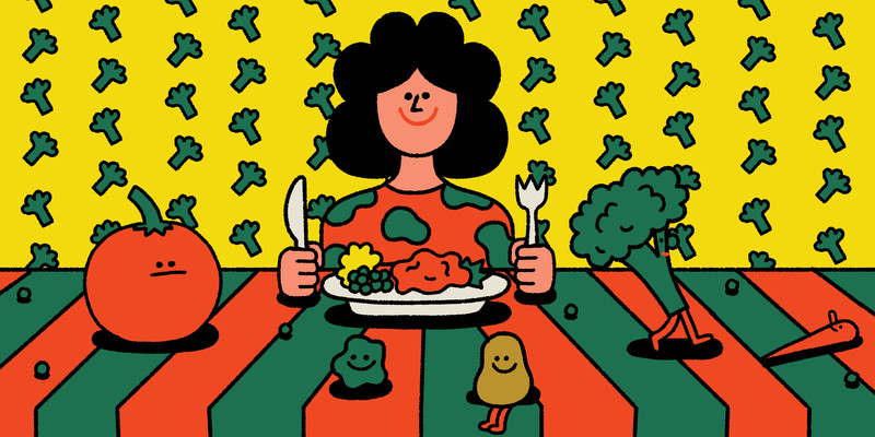 A person sits at a table with a plate of vegetables in front of them. Walking on the table are various happy smiling vegetables. This is an illustration.