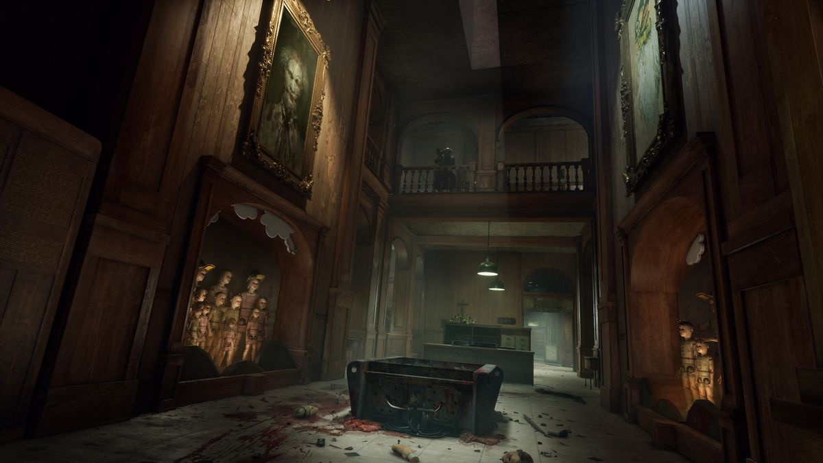 A desolate hallway from The Outlast Trials