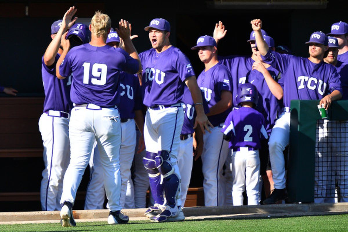 Luken Baker celebrates with his teammates, as has become the custom