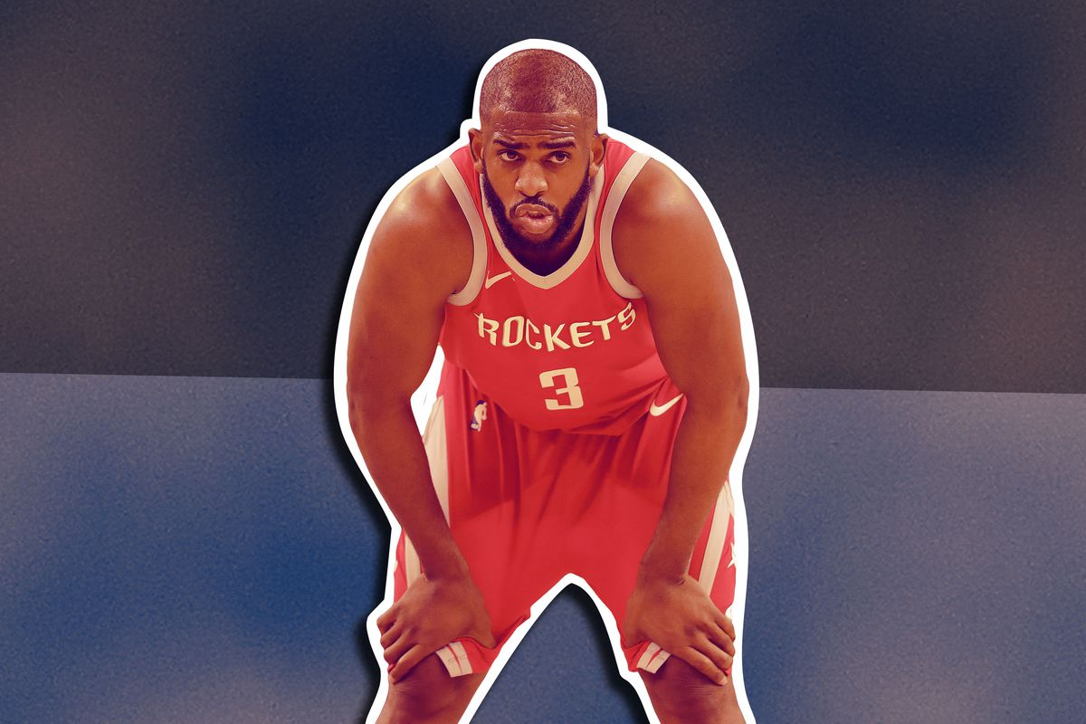 Chris Paul with his hands on his knees